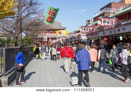 Many People shopping street in Asakusa area neary Senso-ji Temple Japan