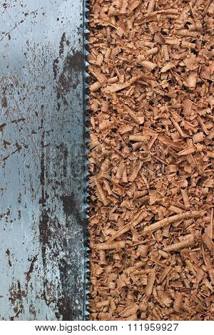 Wood Shavings Texture And Saw Blade Background
