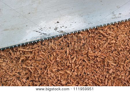 Wood Shavings And Saw Blade Texture Background
