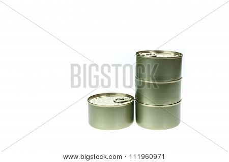 Stack Of Food Tin Can Isolated On White