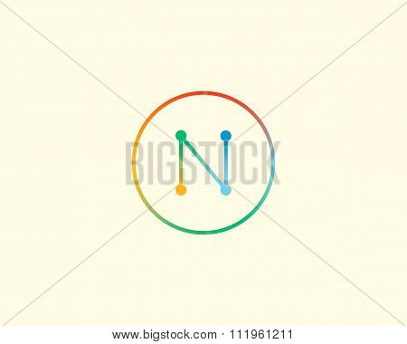 Abstract letter N logo design template. Colorful lined creative sign. Universal vector icon.