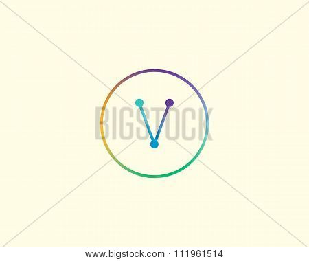 Abstract letter V logo design template. Colorful lined creative sign. Universal vector icon.