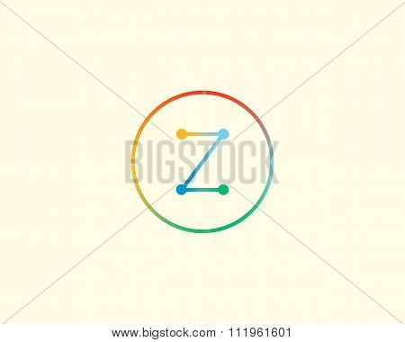 Abstract letter Z logo design template. Colorful lined creative sign. Universal vector icon.