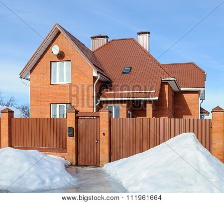 New Country Brick House In Winter
