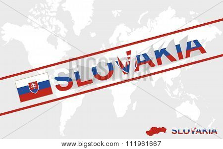 Slovakia Map Flag And Text Illustration