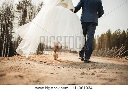 going away wedding couple