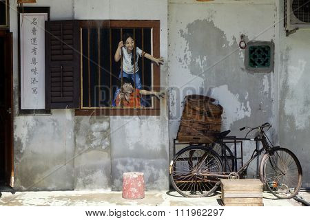 Street Art On Wall In Georgetown World Heritage In Penang, Malaysia