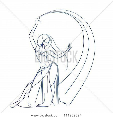 Belly Dancer figure gesture sketch line drawing.