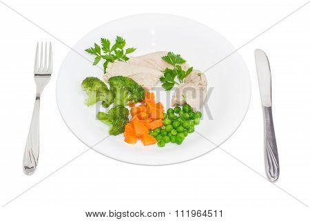 Dietary Dish Of Boiled Meat And Vegetables