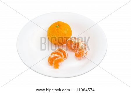 One Whole And Peeled Halved And Sectioned Mandarin Orange