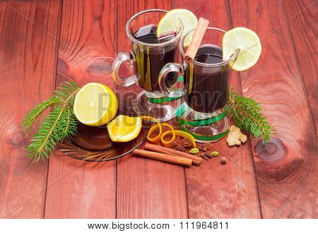 Two Mug Of Mulled Wine, Mulling Spices And Fir Branches