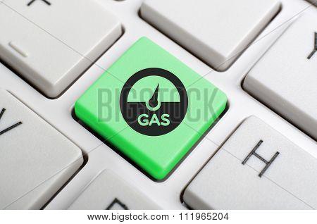 Green gas key on keyboard