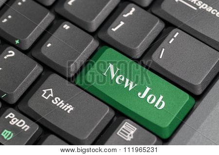 Green new job key on keyboard