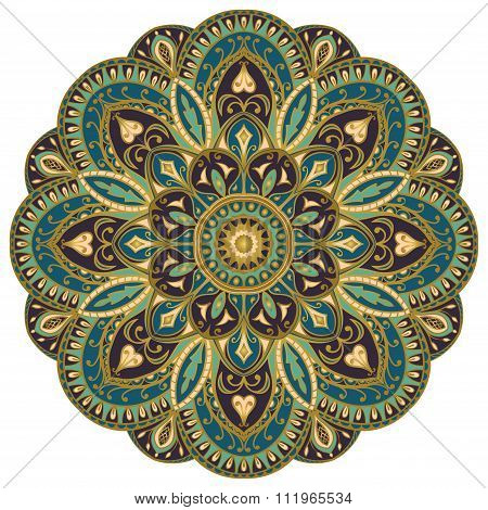 Ornate, Blue, Eastern Mandala.