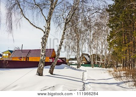 The holiday village in the winter