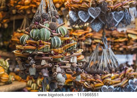 Christmas Decorations Made With Dried Fruits. Christmas Garland, Chaplet To Decorate Christmas Tree.