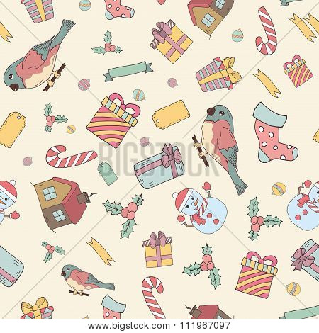 Seamless Pattern Of Hand Drawn Knitted Winter Accessories. Doodle Holiday Background And Place For Y