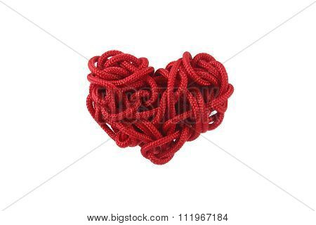 Red Heart Shape Isolation From The Rope Is Coiled On White Background