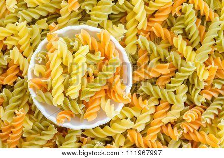 Three Colors Rotini Pasta.