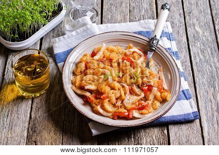 Pasta With Squid And Vegetables
