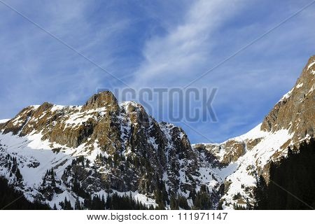 landscape with mountain peak in the Carpathians, ROMANIA