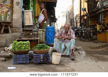 Street Sellers Of Vegetables In India