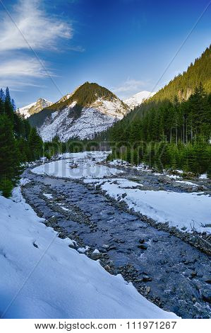 The mountain river in winter sunny day. Beautiful winter landscape