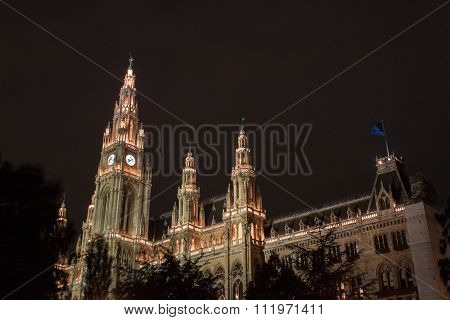 Vienna's Rathaus / City Hall By Night