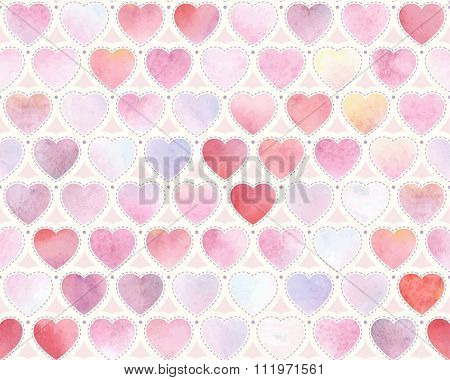 Watercolor festive pattern of red, pink, blue and purple hearts, seamless vector illustration.