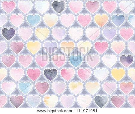 Watercolor festive pattern of indigo, pink, blue, yellow and purple hearts, seamless vector illustration.