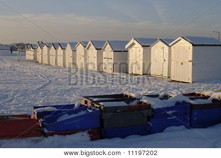 Snow On Beach At Worthing. UK
