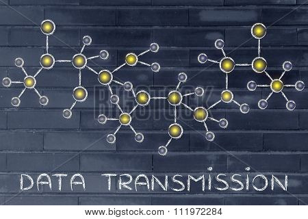 Abstract Glowing Network Illustration With Text Data Transmission