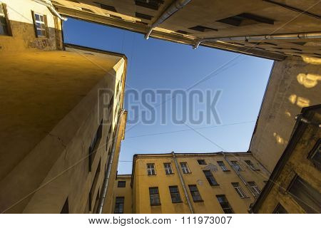 View on a typical courtyard-a well in the old district of St. Petersburg in Russia.