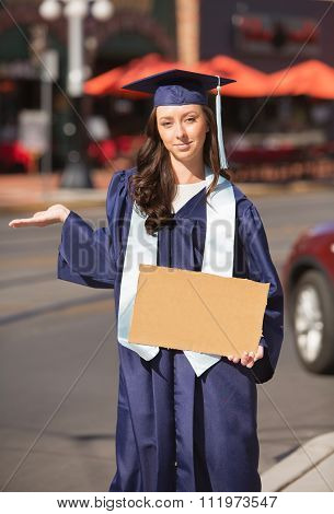 Woman With Blank Cardboard Sign