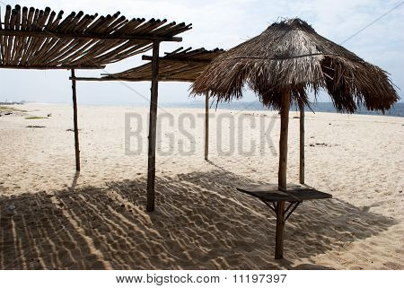 Thatch shelter on the beach