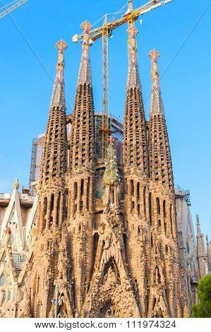 La Sagrada Familia Facade, Barcelona, Spain