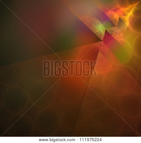 Abstract Black Background With Rainbow, Orange Colored Bokeh Rays In The Corner Texture, Fractal