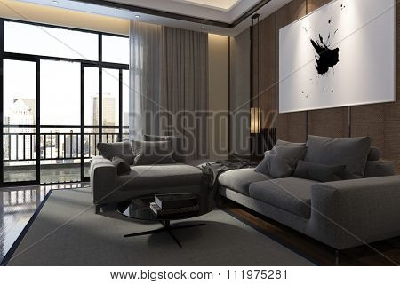 Luxury living room interior with large comfortable upholstered sofas, floor-to-ceiling windows with drapes opening onto an outdoor balcony or patio, room interior in shadow. 3d Rendering.