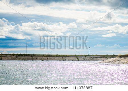 Sea Pier, Silver Sea, Cloudy Sky
