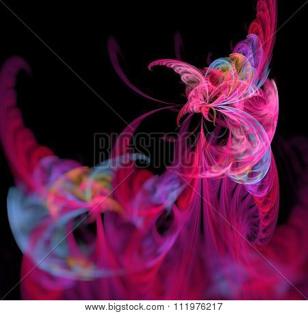 Abstract Black Background With Rainbow Colored Butterfly Or Rays - Pink, Blue, Turquoise, Green - In