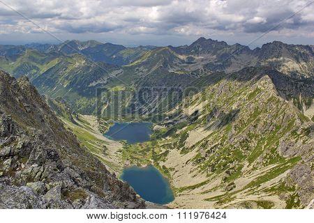 View of High Tatras mountains and tarns