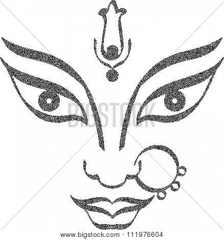 Durga Goddess of Power Stipple Effect Vector Art