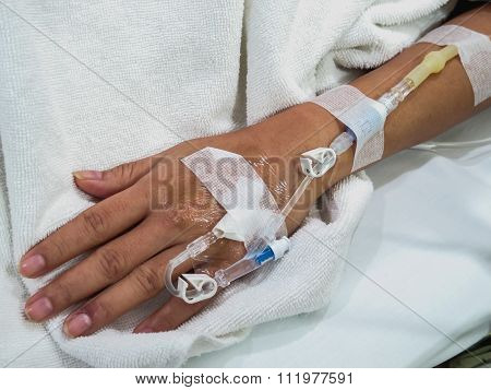 Patient's Hand With Saline Intravenous (iv)
