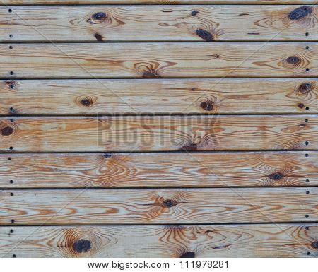 The Surface Of The Horizontally Nailed Pine Boards