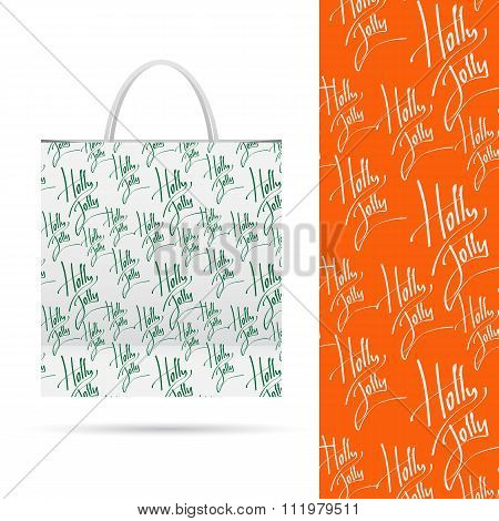Holiday pattern over paper package