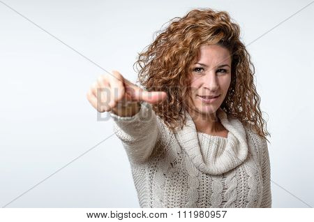 Young Woman Giving A Thumb To Side Gesture