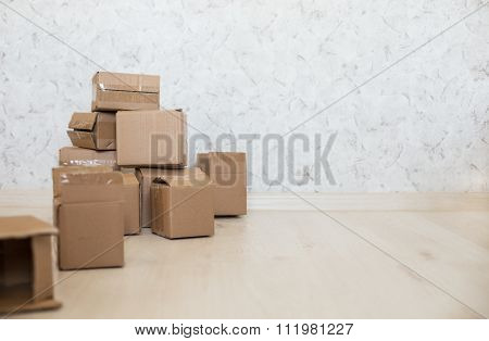 Cardboard Boxes On Laminate Floor