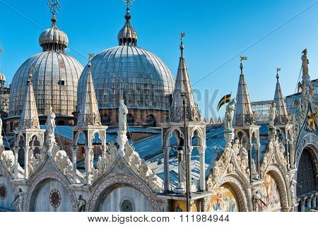 Roof architecture details of Basilica San Marco (Saint Mark's basilica) in Venice, Italy.