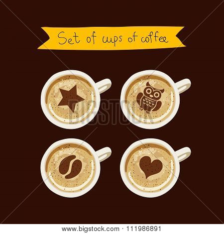 Set of cups of coffee with a pattern