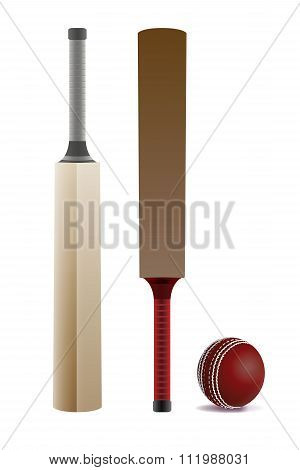 Cricket Bats And Ball Isolated On White Illustration
